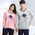 Spring and Autumn Men/Women Long Sleeve Sleepwear Femme Couple Pajamas Set 100% cotton Lovers Home Suits Men's Nightwear Fashion