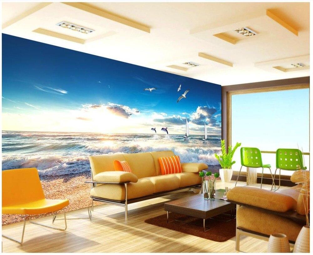Custom 3 D Photo Wallpaper Wall Murals 3d Wallpaper Beach: 3D Murals Wallpaper Custom 3d Photo Wallpaper Sea Beach