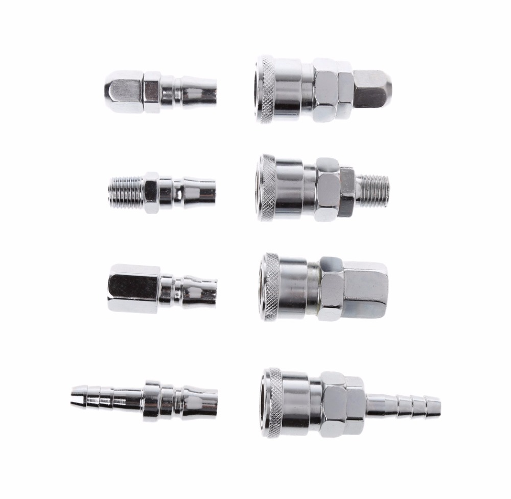 8 Pcs 1/4 Pneumatic Air Compressor Hose Quick Coupler Plug Socket Connector Set 2 pcs 8mm tube pneumatic hose air fitting tee quick connector coupler free shipping