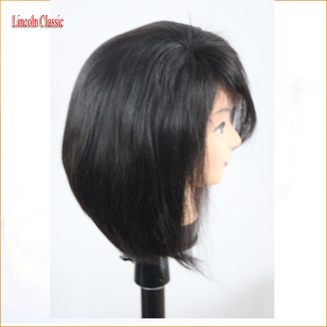 Layered Human Hair Short Bob Wigs For Black Women Glueless Lace Front Human Hair Bob Wig With Side Bangs Full Lace Short Wigs
