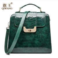 QIWANG Real Genuine Leather Women Handbag Authentic Leather Shoulder Bags Luxury Brand Elegant Ladies Fashion Hand Bag 2018