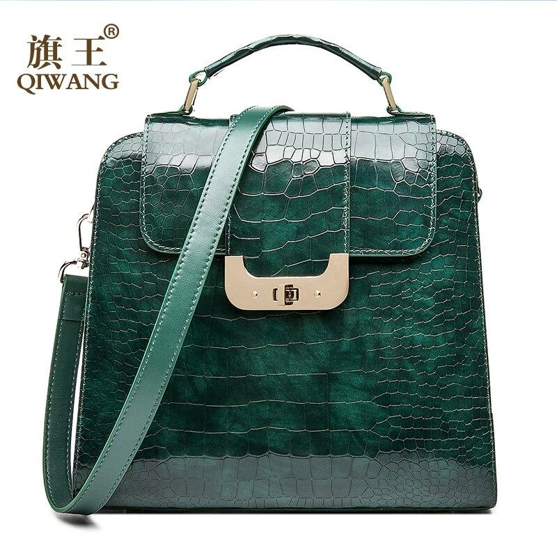QIWANG Reale Delle Donne del Cuoio Genuino Della Borsa di Cuoio Autentica di Borse a Spalla di Marca di Lusso Elegante di Modo Delle Signore di Sacchetto Verde 2018