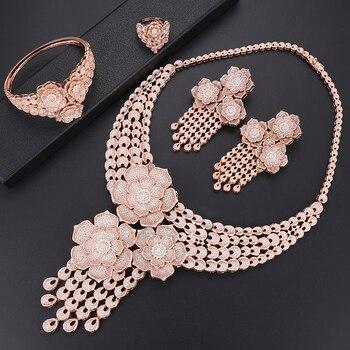 4bec5dabc8b4 Missvikki de lujo de oro rosa flores colgante Gran Collar pendientes anillo  de brazalete conjunto de joyas nigeriana Africana joyería de perlas