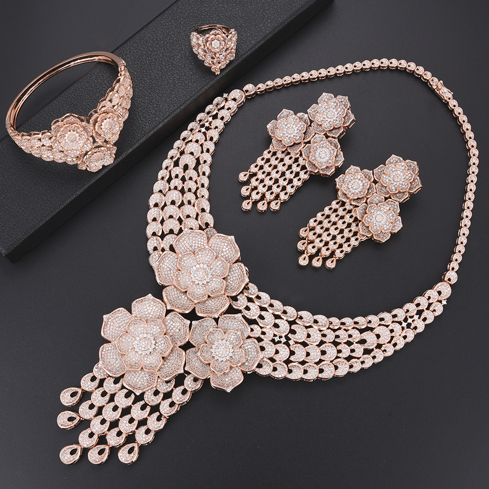 missvikki Luxury Rose Gold Flowers Pendant Big Necklace Earrings Bangle Ring Jewelry Set Nigerian African Beads Jewelry