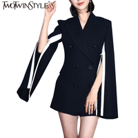 TWOTWINSTYLE OL Design Women Blazer Plus Size Cloak Suit Coats Notched Collar Double Breasted Long Sleeve