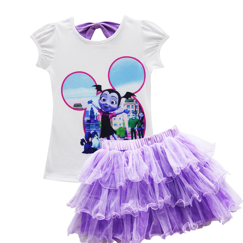 Fashion Boutique Outfits Baby Girls Clothes Sets Vampirina Print Tops Tees + Skirts Candy Color Tutu Skirts Suits