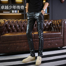 2017 feet of cultivate one's morality leisure zipper in youth trend thin skin-tight leather pants waist Men's trousers