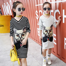 цена Kids Girls Dress Spring Autumn Cartoon Long Sleeve Princess Party Dress Casual Children Clothes For Girls 4 6 8 10 12 14 Years онлайн в 2017 году