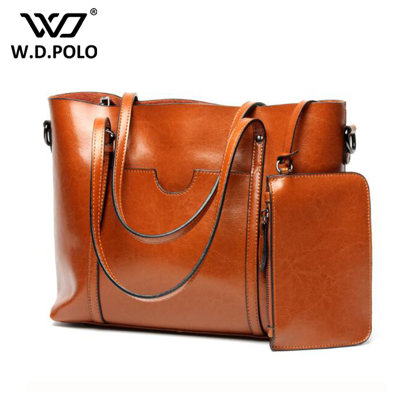 WDPOLO Women Casual Tote Genuine Leather women Handbag Bag Fashion Vintage lady Large shoulder Bag female Crossbody bags C312 england style women casual tote pu leather patchwork handbag bag vintage large crossbody bags shopping bag for female