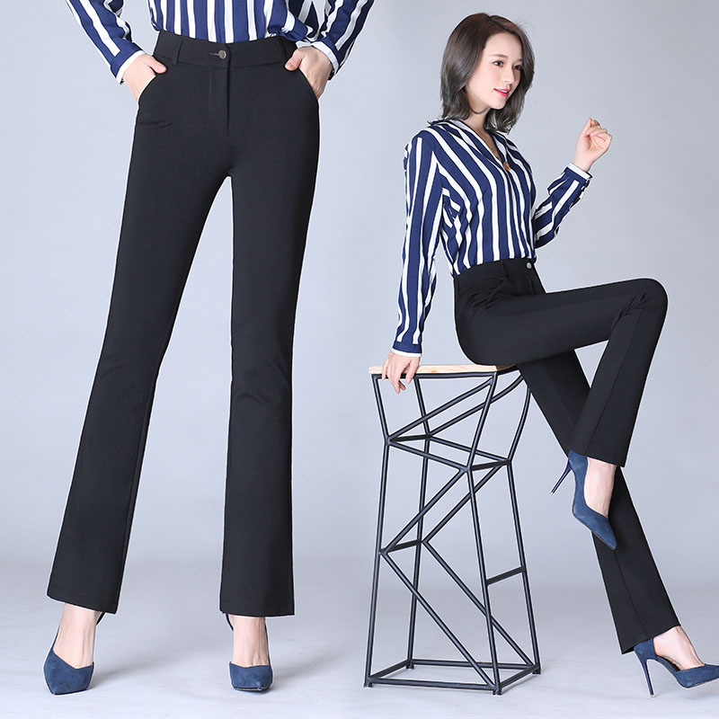 S-9XL 2018 Women Black Simple Trousers Casual High Waist Slim Flare Pants Solid Color Plus Size