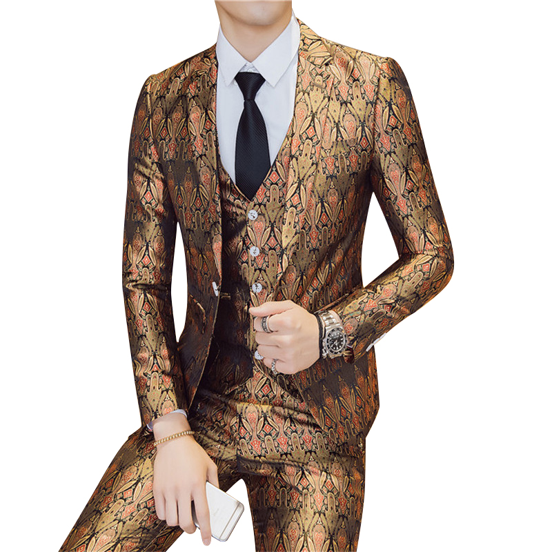 Men Suit High-end Luxury Fashion Slim Single-breasted Groom Wedding Men's Boutique Printed Business Dress(coat+pants+vest)