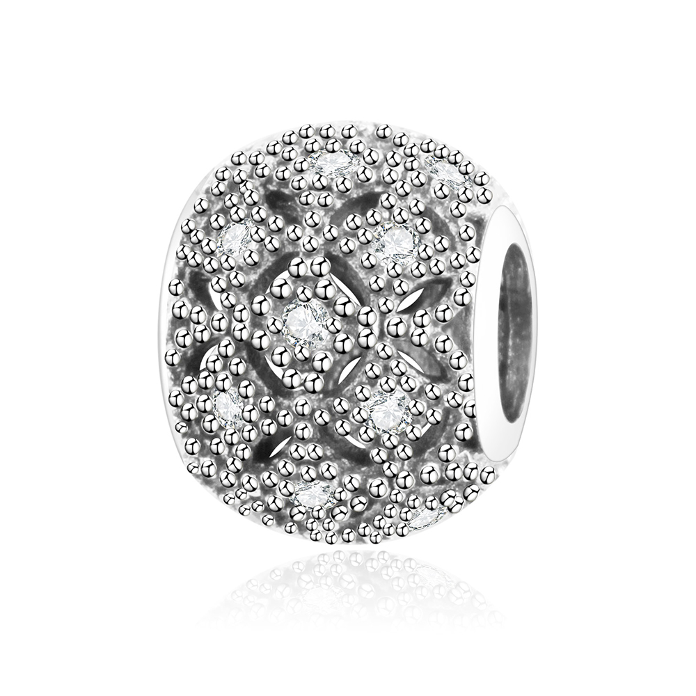 2018 Spring Newest 925 Sterling Silver Pave CZ Round Charms Fits Original Pandora Charms Bracelet DIY Jewelry Making Accessory