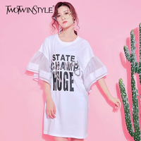 TWOTWINSTYLE Printed T shirt Dress Female Flare Sleeve Mini Dresses Women Tee Casual Clothes Big Sizes Korean 2018 Summer New