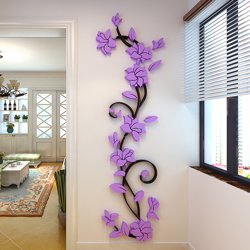 Hot Sale 3D Acrylic Rose Flower Wall Stickers Home Decor Decorative Living  Room Sofa TV Door Part 47