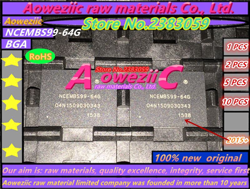 Aoweziic (1PCS) (2PCS) (5PCS) (10PCS)   100% new original NCEMBS99-64G   NCEMBS99  64G  BGA    EMMC memory chip aoweziic 5pcs 100