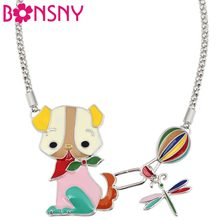 Bonsny Enamel Alloy Cartoon Dog Dragonfly Fire Balloon Choker Necklace Pendant Anime Jewelry For Women Girls Teens Birthday Gift(China)