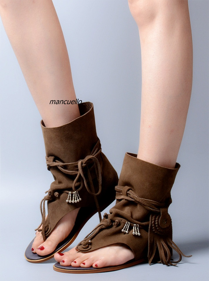 Trendy Brown Suede Fringe Lace Up Sandals Comfy Clip Toe Tassel Decorated Flat Gladiator Sandals Fashion Summer Ankle Boots - 2