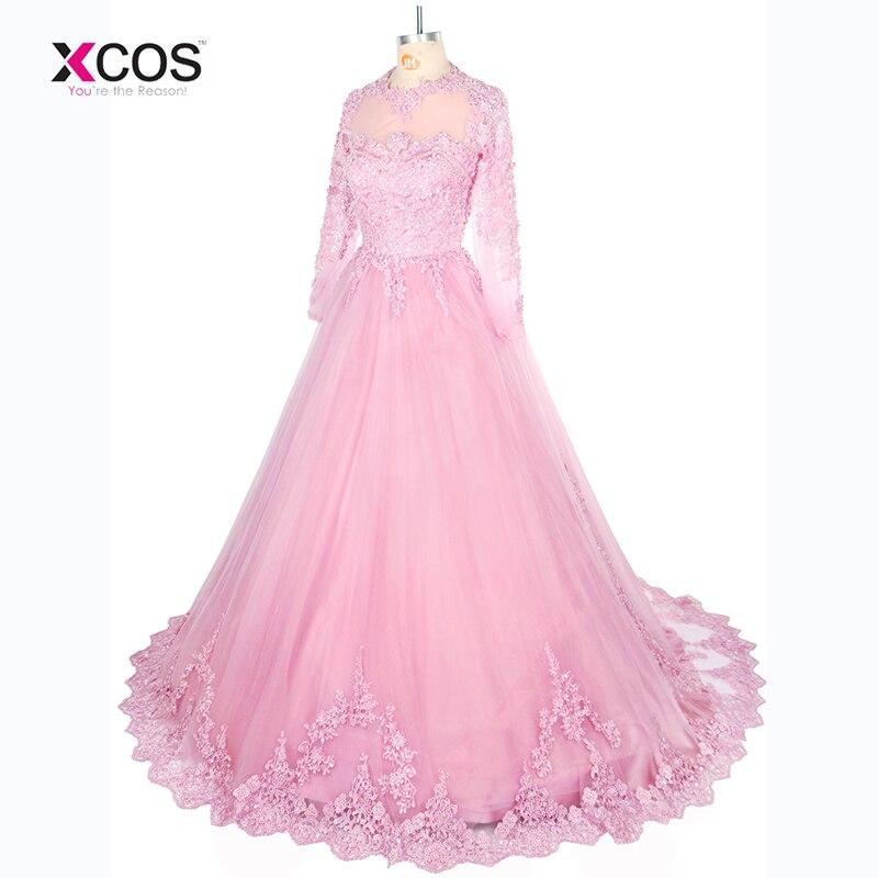 Robe De Soiree 2017 Long Sleeves Lace Wedding Dresses Arabic Sheer Bateau Neck Custom Made See Through Back Bridal Gowns