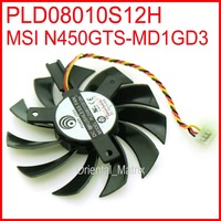 Free Shipping PLD08010S12H 12V 0.25A 75mm 3Wire 4Pin Fan For MSI N450GTS-MD1GD3 Graphics Card Cooling Fan