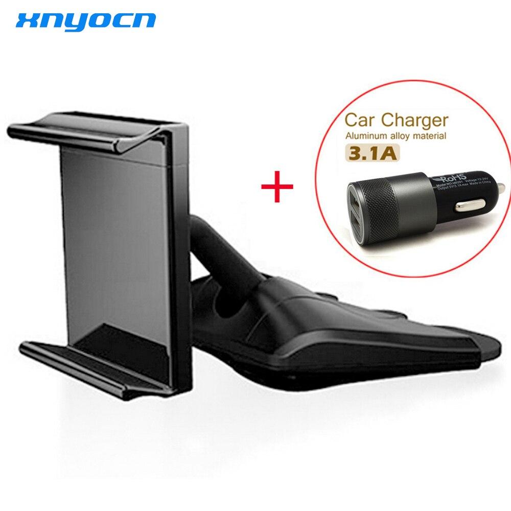Цена за Универсальный подлинным корейский автомобильный держатель телефона крепление CD смартфонов cd держатель 2.1A + 1A Dual USB порт USB cargador Кош carga de