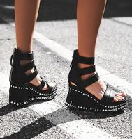 Summer Hot Black Leather Fringe Platform Women Open Toe Sandas High Quality Cutout Style Ladies Wedge Heel Sandals Zipper Back