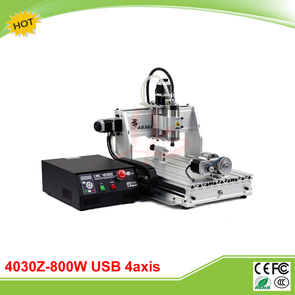New 4030Z(800W/USB) 4 axis mini CNC engraver with USB port and rotation axis free shipping 800w 4 axis cnc engraver engraving machine cnc 4030z with usb port 3040