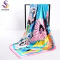 [BYSIFA] señoras Bufanda De Seda Rosa 2017 Nuevos Accesorios de Diseño de Gran Tamaño Cabo de La Bufanda Principal Musulmán 100*100 cm Elegante Margarita bufandas