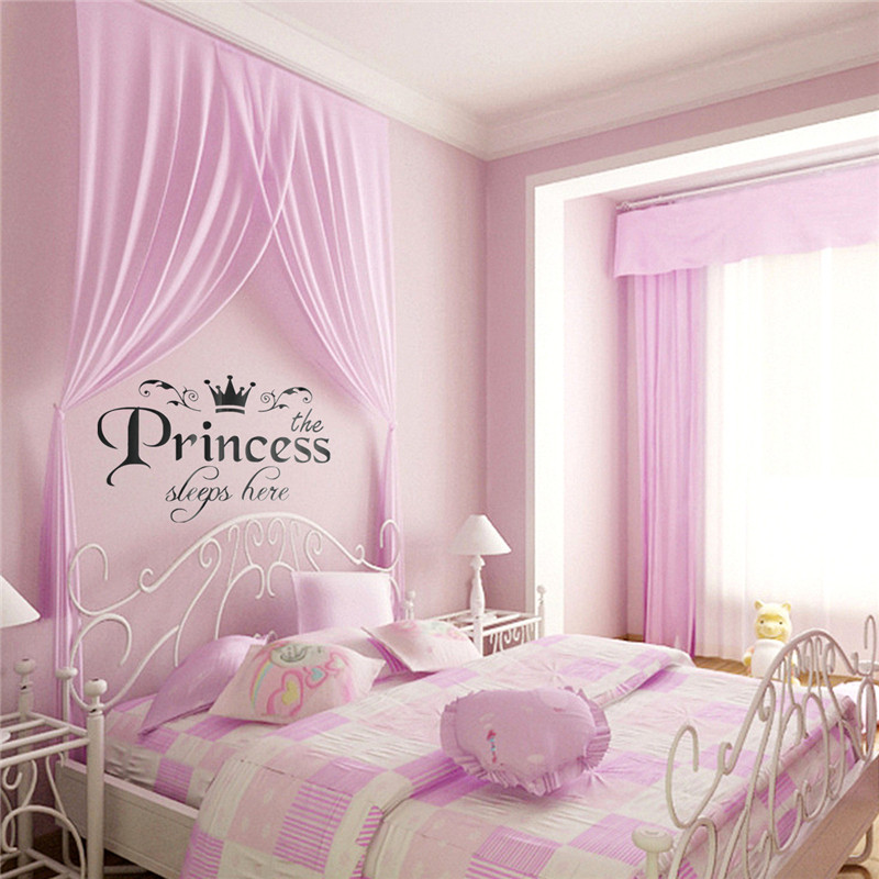 New Arrival DIY Removable Princess Sleeps Wall Stickers Art Vinyl Decals Home Baby Girls Kids