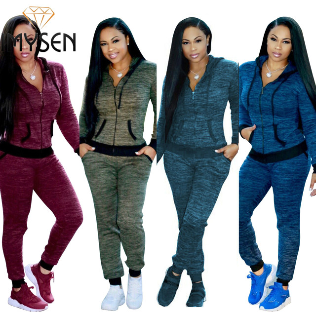 IMYSEN Plus Size Tracksuit Women Two Piece Set New Spring Autumn Hooded Long Sleeve Zip Jacket Top Pants Suit 2PCS Sets
