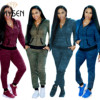 IMYSEN Plus Size Tracksuit Women Two Piece Set New Spring Autumn Hooded Long Sleeve Zip Jacket