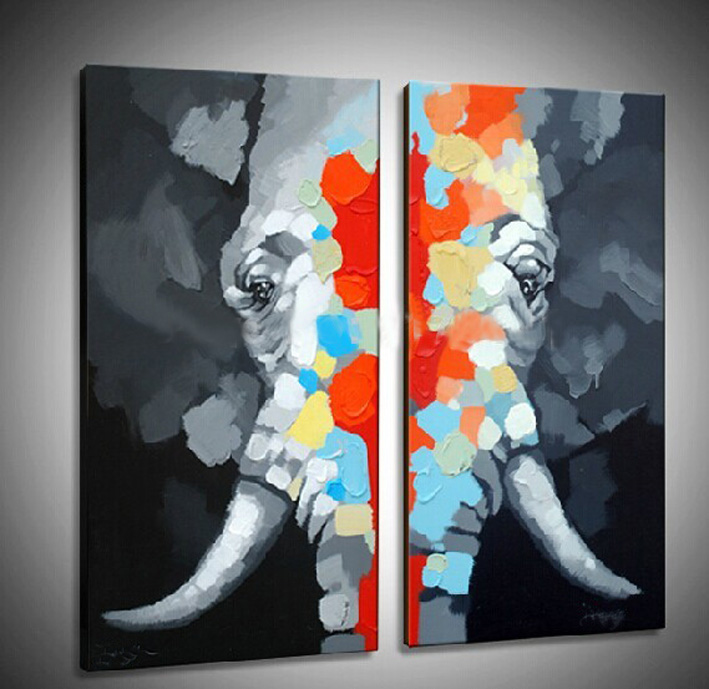 Us 80 0 Free Shipping Modern Abstract Elephant Knife Oil Painting On Canvas Home Decor 2 Pieces Wall Art Hand Painted With Framed In Painting