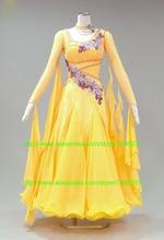 Standard Dance Dresses Good Quality Unique style Smooth Ballroom Dress waltz dresses Yellow salsa dance dress
