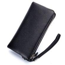 d19743263b23b 2018 yüksek kalite erkek cüzdan uzun Togo üst katman deri debriyaj çanta  erkek deri fermuar cüzdan