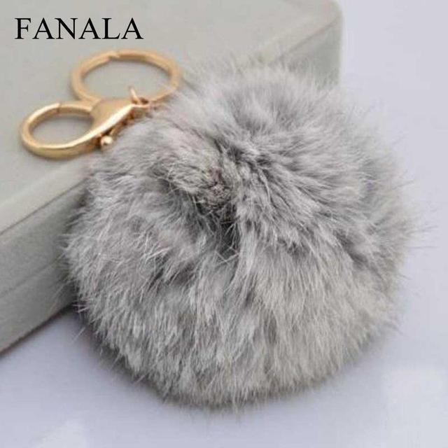 Black Furry Keyring Keychain Charms Cute Pendant Hot Rabbit Bag Women Gift  Key For Handbag Pink Fur Ball Chain Furry Grey Girls dc750c6c0c