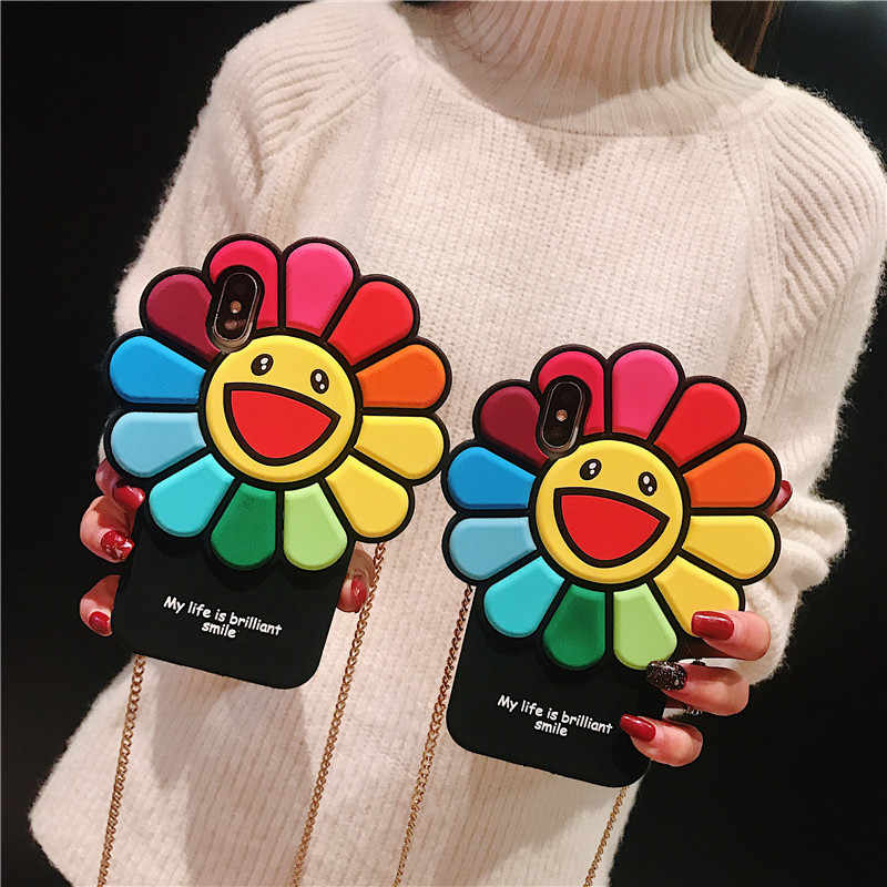 Murakami Takashi KaiKai KiKi Rainbow Flower Phone Case For Apple Iphone 6 6s 7 8 Plus X XR XS MAX Silicone 11 pro max Cover Capa