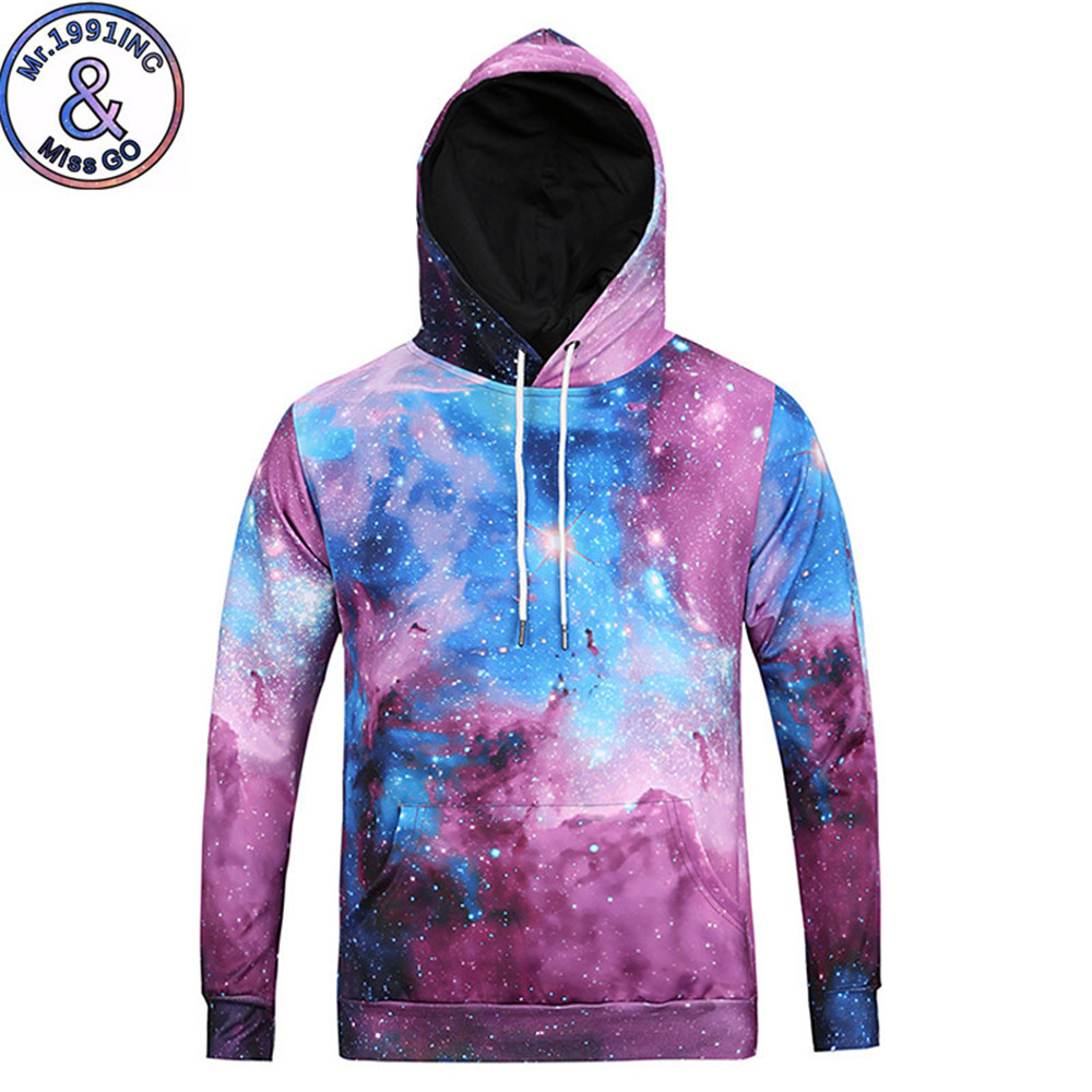 Galaxy Men Streetwear Sweatshirt Starry Sky Hip Hop Workout Hoodie Tops Male Punk Rock Sportswear Tracksuit Casual Hooded Tops