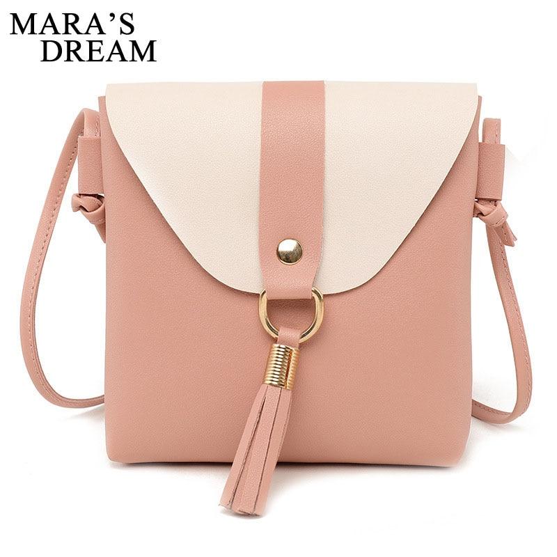 Mara's Dream 2020 New Fashion Women PU Leather Handbags Solid Color Tassel Patchwork Shoulder Bag High Qulity Messenger Bag