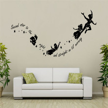 Second Star To The Right Quote Tinkerbell Peter Pan Wall Sticker Kids Room Decor China