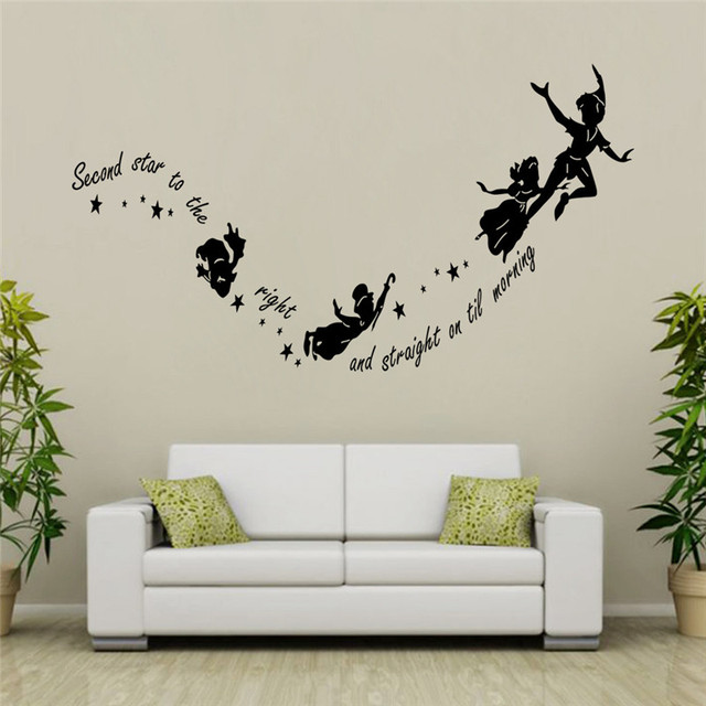 Second Star to the right Quote Tinkerbell Peter Pan Wall Sticker ...