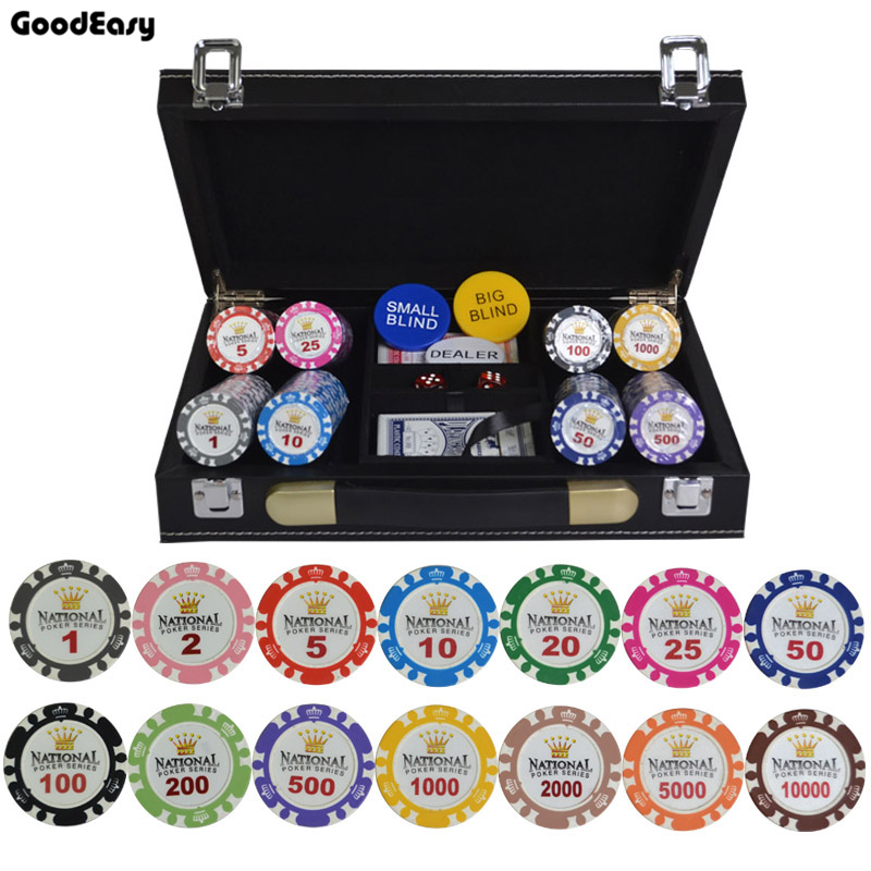 100 200 300 400 500PCS SET Gold Crown Poker Chip Clay Casino Chips Texas Hold em