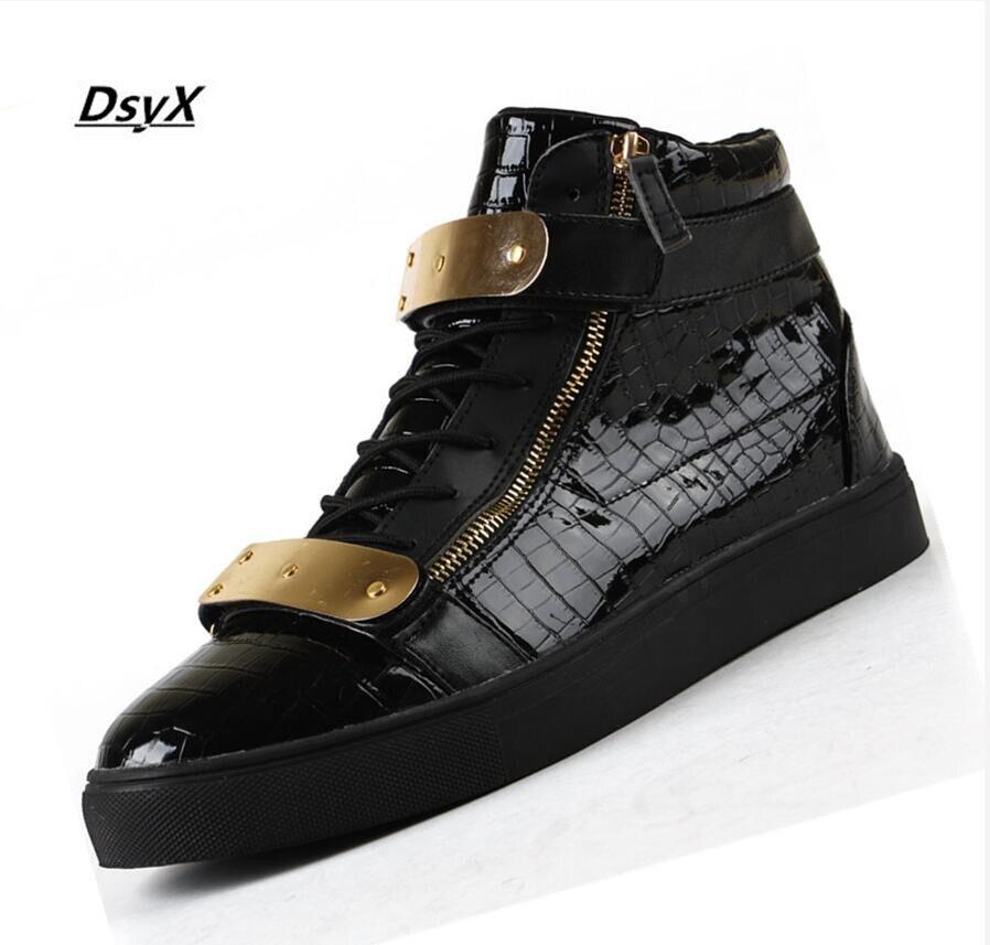Drop Shipping 2015 Men Men GZ neutral gold high top shoes moccasin zipper cuffs
