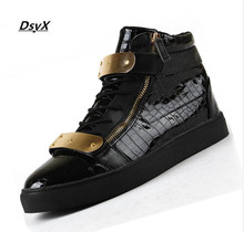 Drop Shipping 2015 Men  Men GZ neutral gold high-top shoes moccasin zipper cuffs