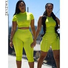 4bd6ba219a6ee4 ZKYZWX Neon zielony dwuczęściowy stroje dres kobiety prążkowana dzianina  Fitness Top + spodenki w dresy Sexy