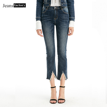 High Waist Jean Women Denim Ripped Jeans for Woman Ladies High Elastic Mom Jeans Female Washed Fashion Casual Raw Edge Pants фото