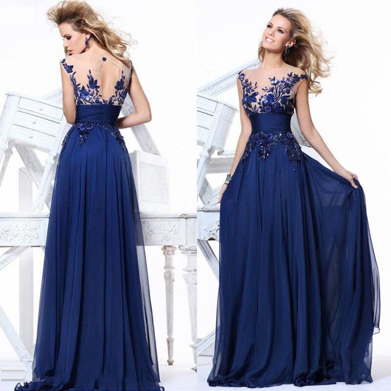 Aliexpress Buy Free Shipping New Brand Bridesmaid Dresses 2015 Wedding Party Royal Blue Elegant Chiffon Dress Long Vestido De Festa From