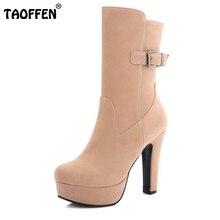 TAOFFEN Mujeres Ronda Plataforma Del Dedo Del Pie Botas de Media Zapatos Otoño Invierno Botas de Tacón Alto de Cuero de Gamuza Mujer Feminina Tamaño 34-43