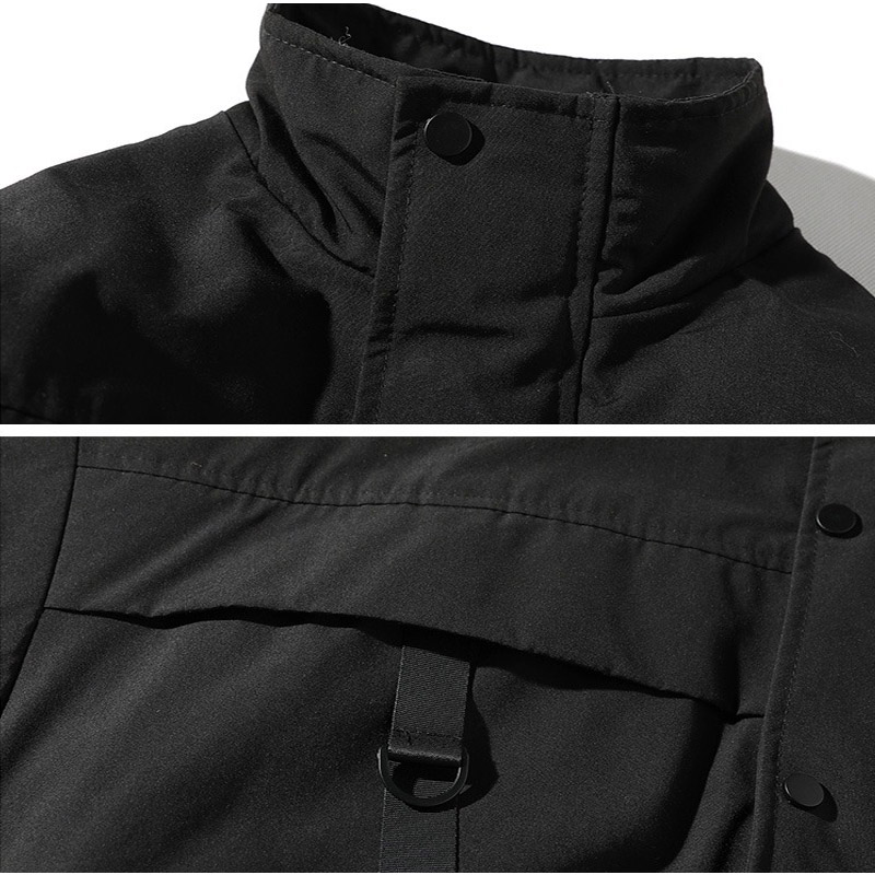 drop shipping Men Winter Jacket Coats Casual Windbreaker Mens Parka Hip hop Bandage design Coats Man Streetwear Outwear ABZ59