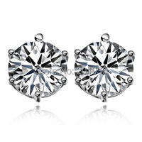 Free Shipping Fashion 925 Pure Silver Swiss Crystal Stud Earring Boys Girls A Pair