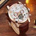 2016 Luxury Band Men's Watches Retro Mechanical Wristwatches Leather Band Automatic Date flywheel 30m Waterproof Sport Men Watch