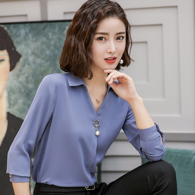 Business femmes hauts et chemisiers col en V été couleur unie femme chemise Ol mode coréenne femme vêtements tenue de bureau DD2079